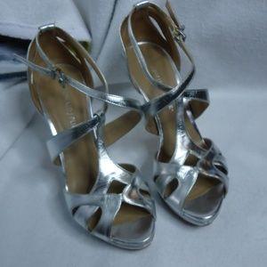 Donald J Pliner Silver Strappy Heels